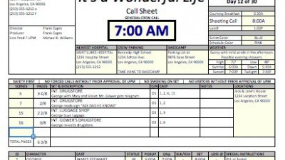Casper Spreadsheet Template Makes Call Sheets and Production – Call Sheet Example