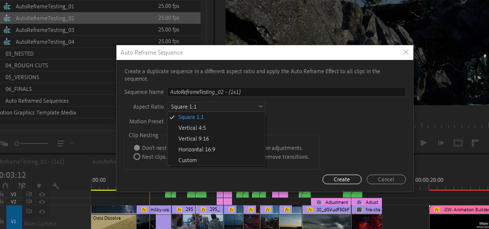 auto reframe feature in premiere pro 14.0