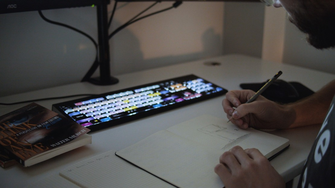 Drawing on a standing desk