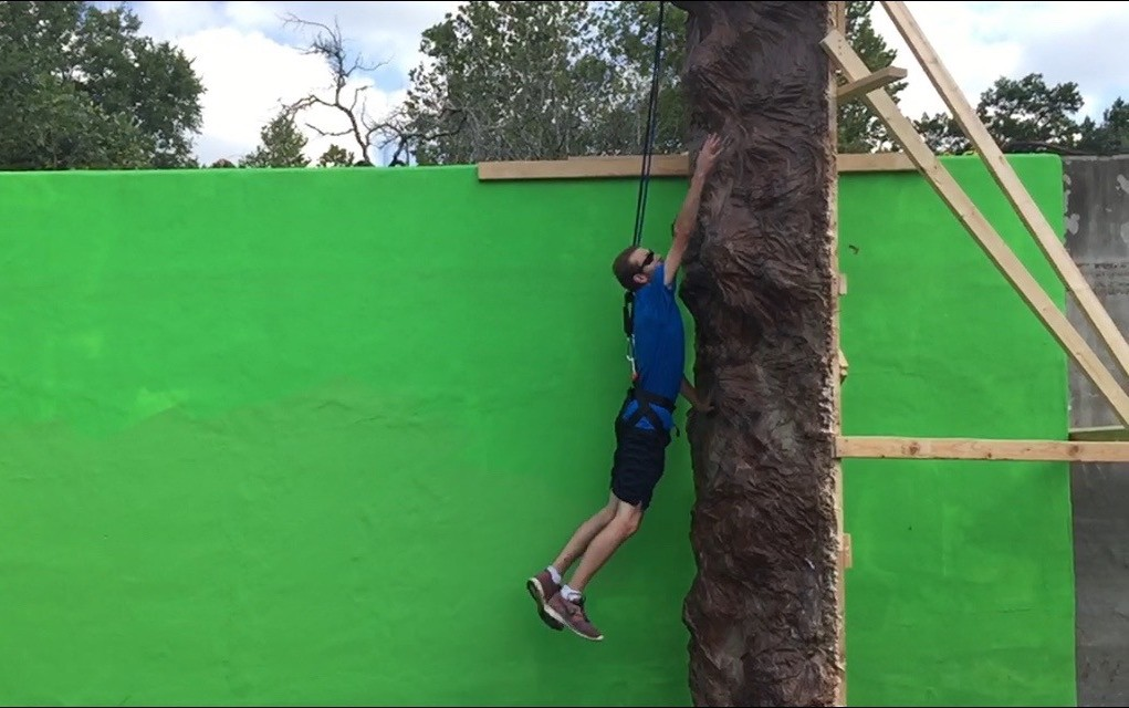 Director/Stuntman John Byron Hanby testing the wall