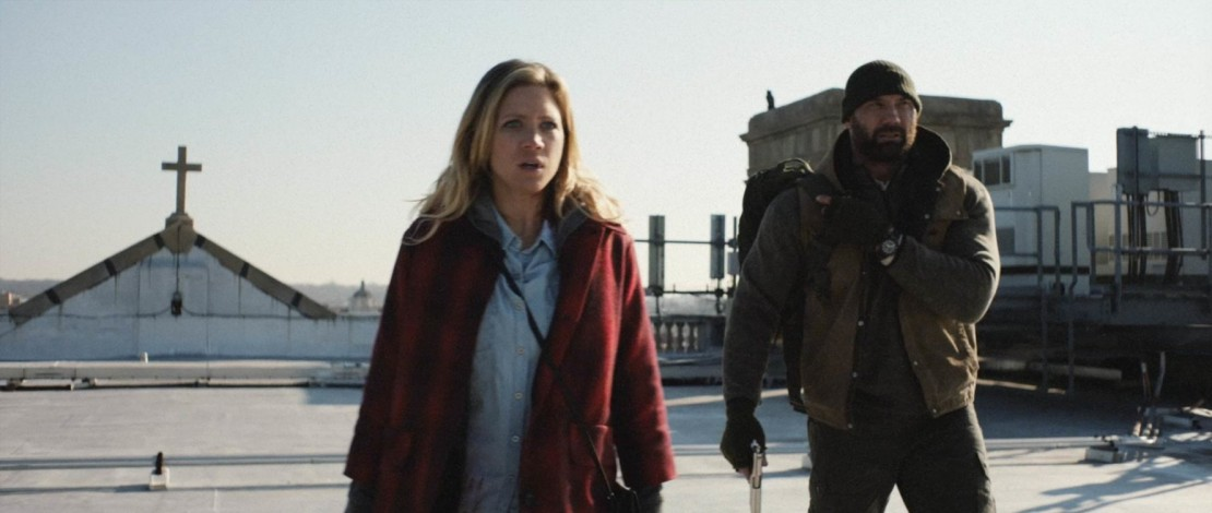 Brittany Snow and Dave Bautista in 'Bushwick'