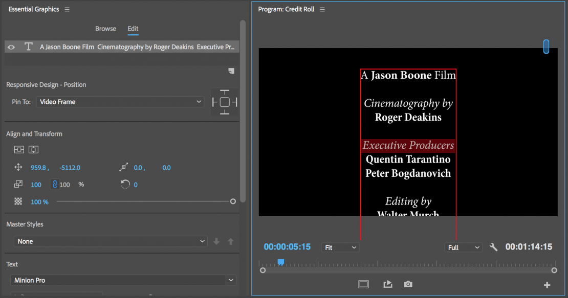 Tutorial: How to Create a Credit Roll in Premiere Pro in