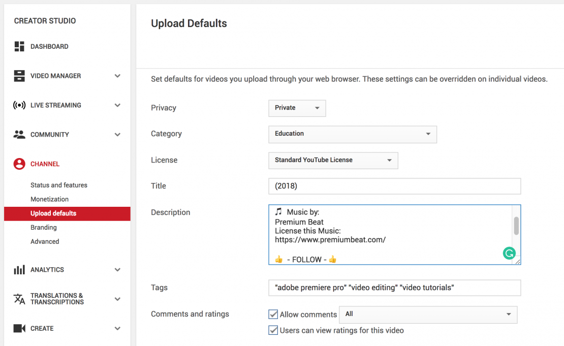 Customize Youtube Upload Defaults