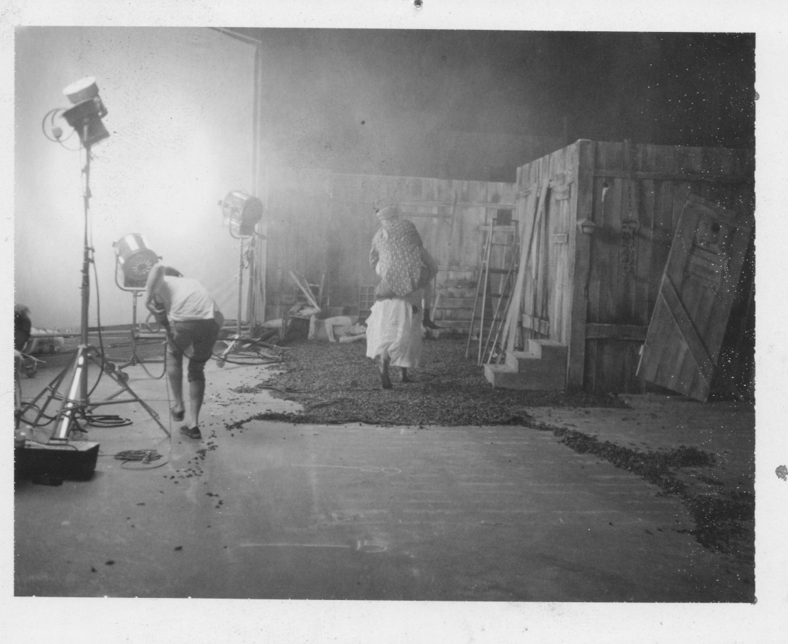 Inside the old paint factory on the set of Go Down Death.