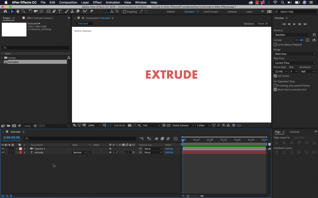How to Extrude Text in Adobe After Effects
