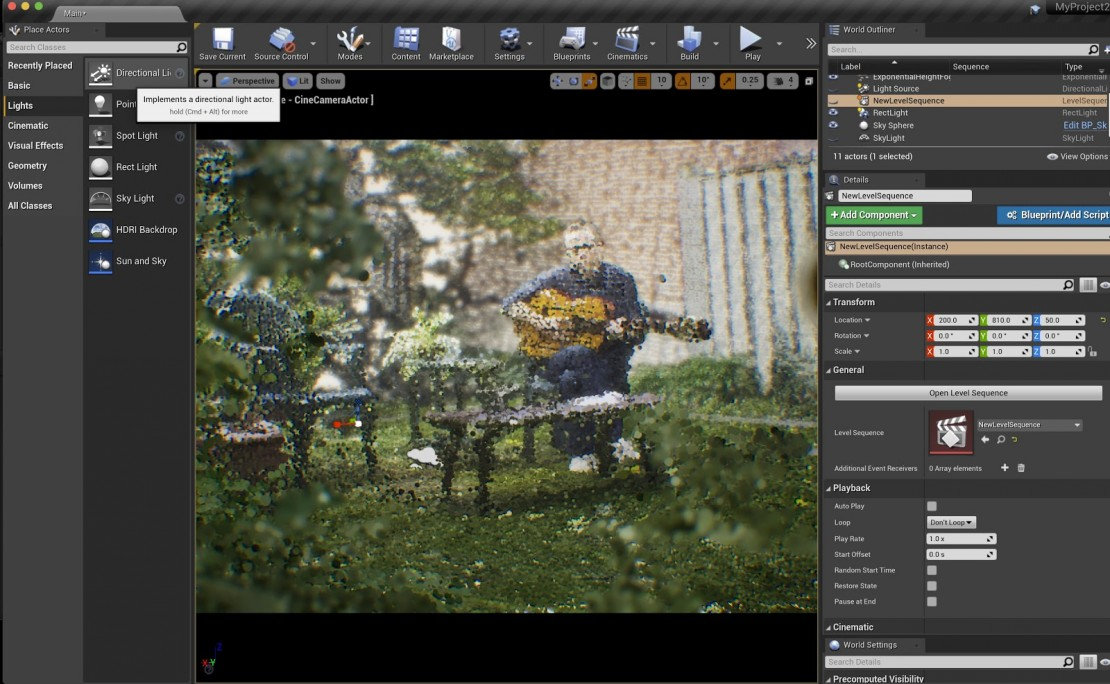 Point clouds for 'Clove Cigarette' being worked on in Unreal Engine.