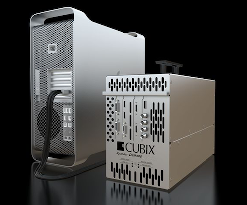 Silver Mac Pro with a Cubix