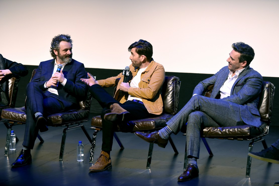 Neil Gaiman, Michael Sheen and Jon Hamm speak during the Good Omens: The Nice and Accurate event during SXSW at ZACH Theatre on March 09, 2019 in Austin, Texas.