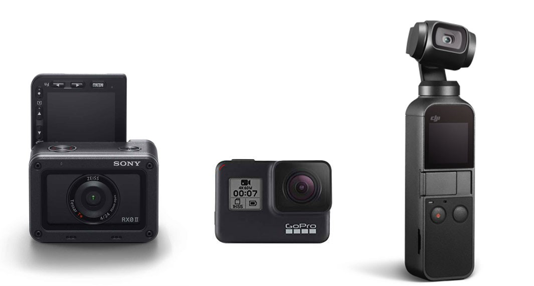 RX0 II and its main competitors, the GoPro Hero 7 Black and the DJI Osmo Pocket