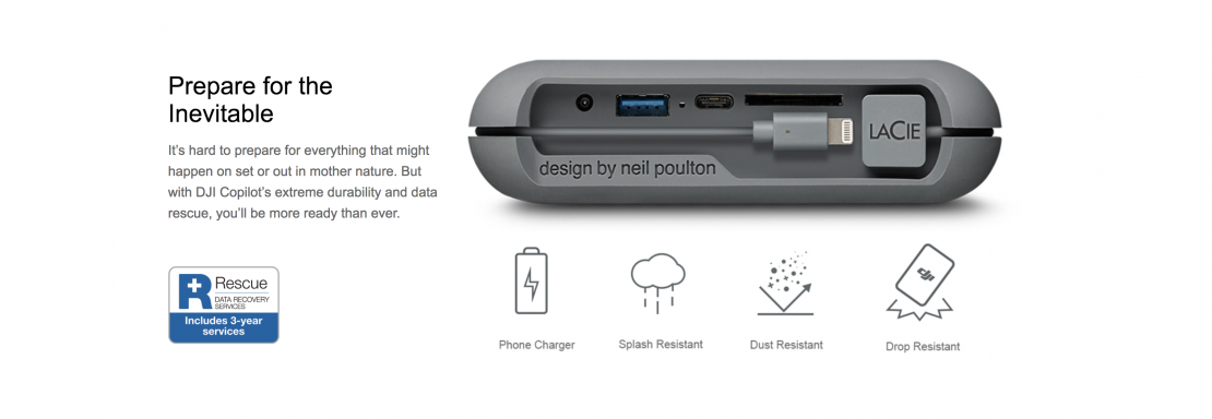 Copilot portable field backup & storage from DJI and Seagate