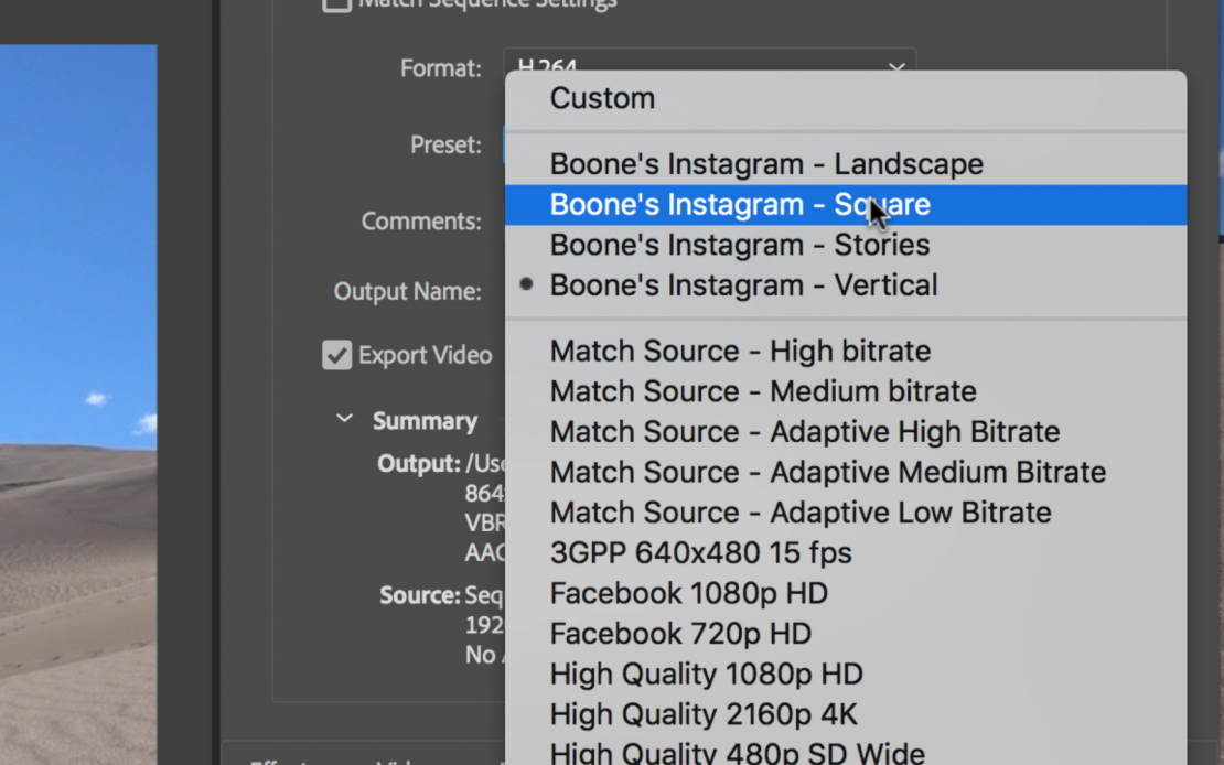Instagram Export Presets for Adobe Premiere Pro