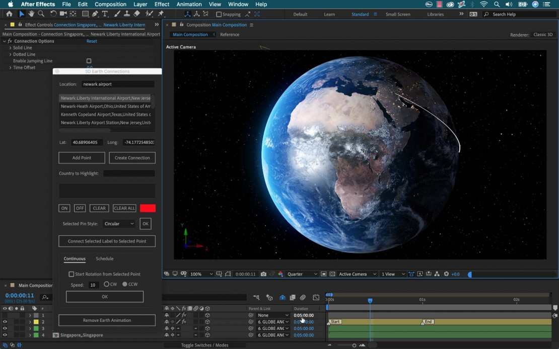 3D Earth Connections for Adobe After Effects