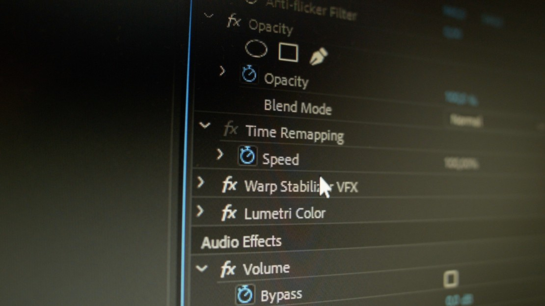 Warp Stabilizer. The Order in Effect Controls Panel
