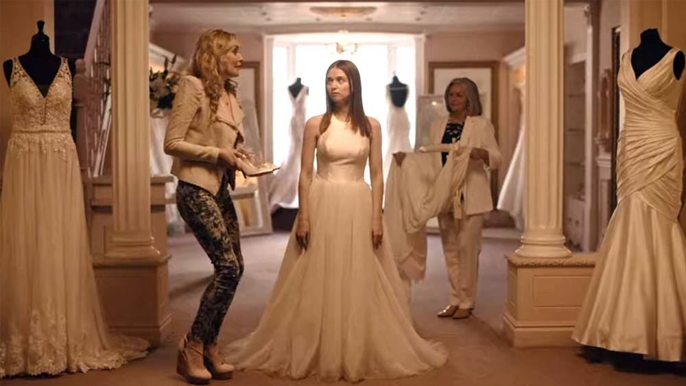 Alyssa (Jessica Barden) trying on her wedding dress in 'The End of the F***ing World'