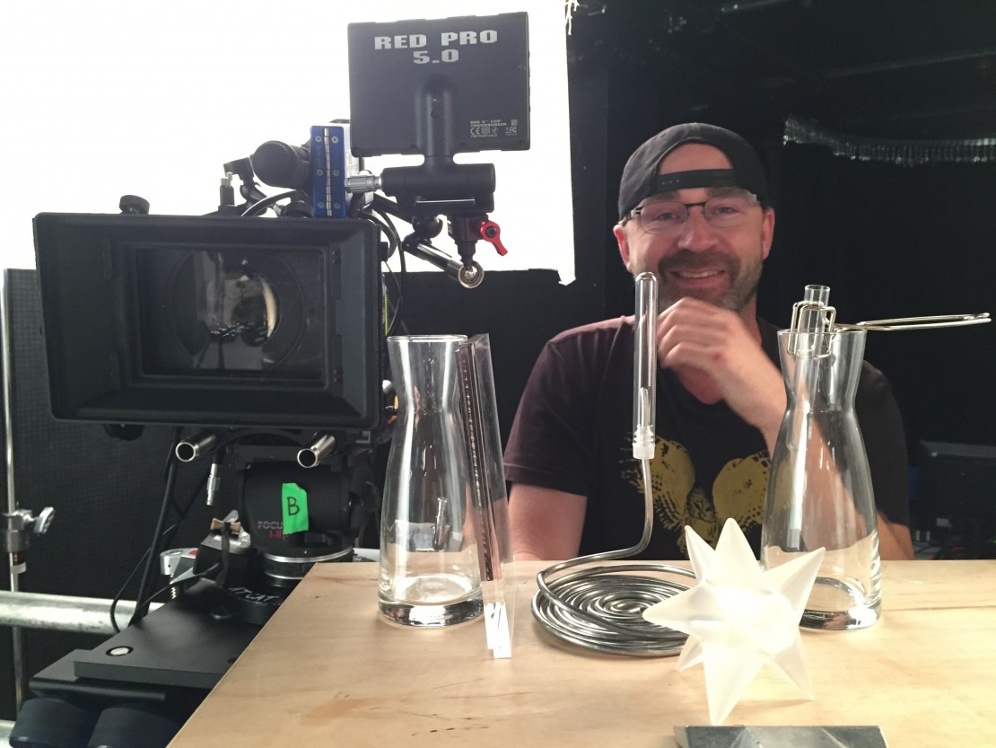 DP William Rexer tests diffusion possibilities with camera assistant Mike Burke (featured).