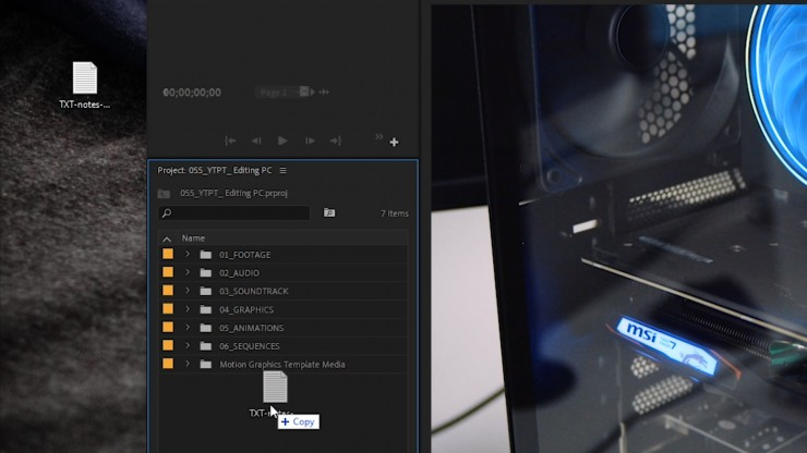 drag and drop .txt file to premiere pro