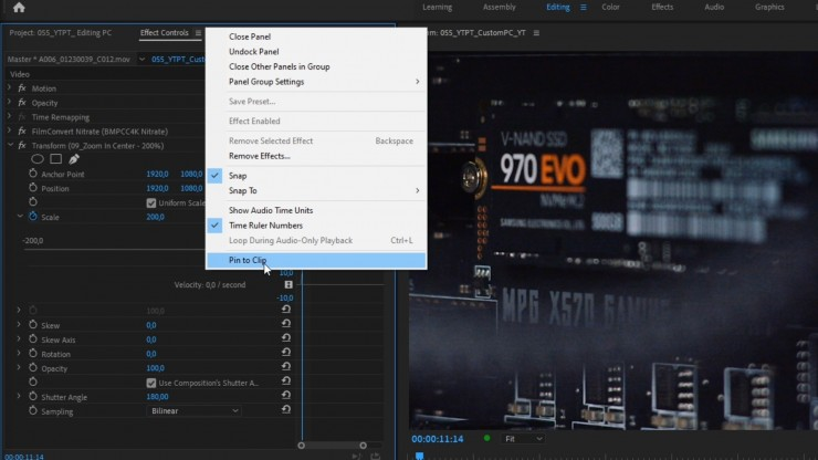 pin to clip in effects control