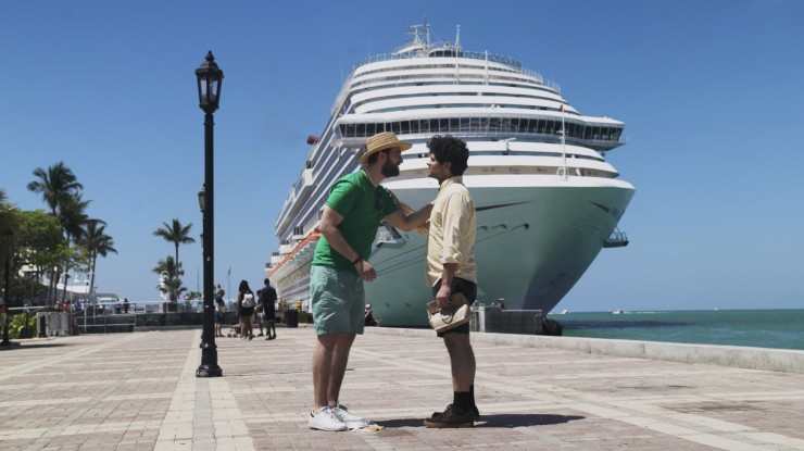 Cast in front of cruise ship, the secret set of Same Boat!