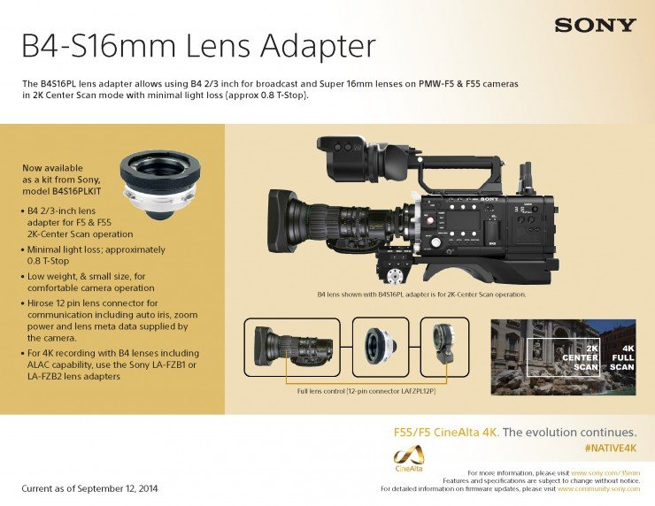 Sony B4-Super 16mm Adapter