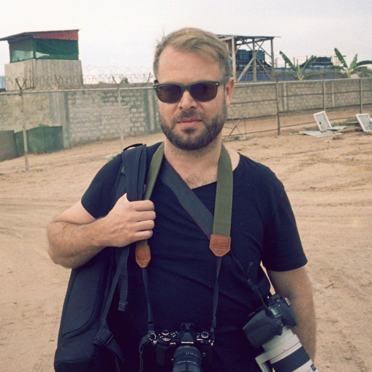 Aaron Ohlmann on a shoot for the UN in Mogadishu Somalia