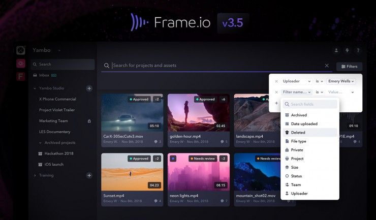 Frame.io's new Search Filter is frame specific