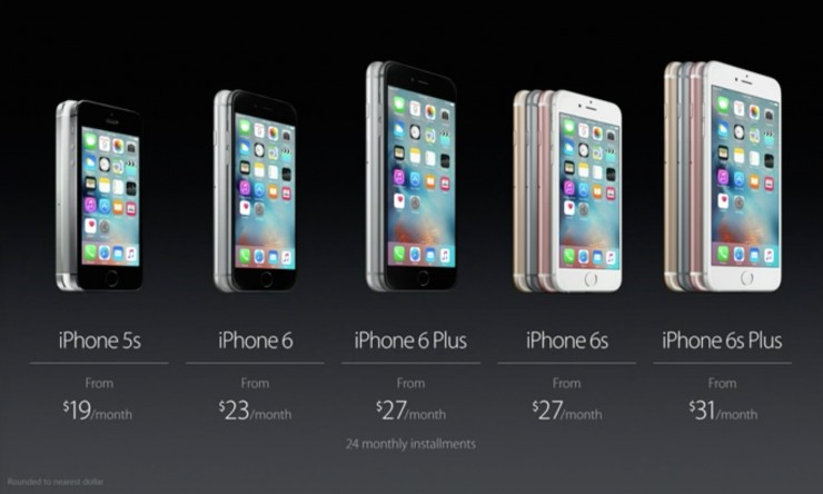 Apple iPhone 6S and 6S Plus Pricing - Monthly
