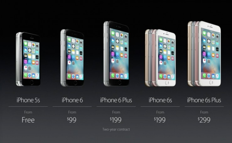 Apple iPhone 6S and 6S Plus Pricing - Two Year
