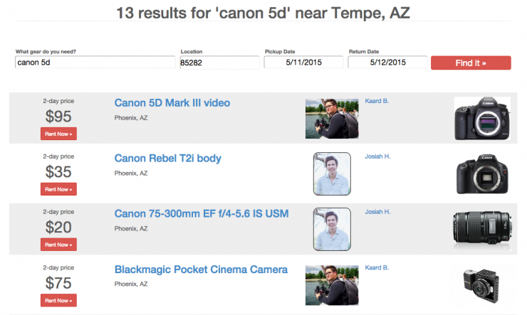 CameraLends Search Results Screen