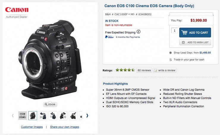 Canon C100 Body Only Now Just $4000