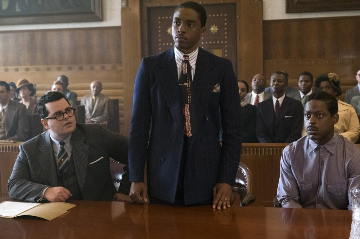 Chadwick Boseman, Josh Gad, and Sterling K Brown in Marshall