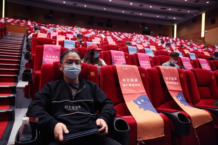 A movie theater in Beijing, China post COVID