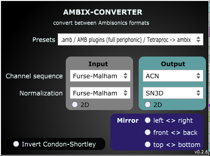 Conversion parameters for ATK -> ambiX