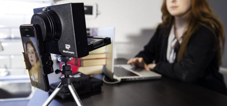Microprompter is a compact and collapsible teleprompter that can be used with any camera