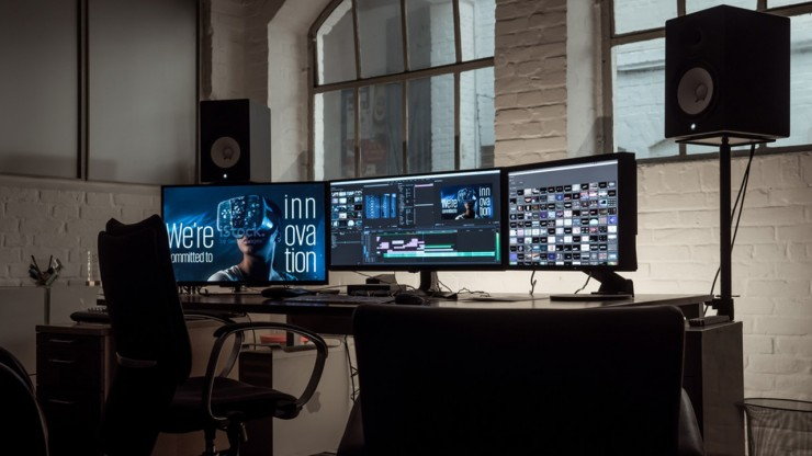 Edit station with 3 monitors