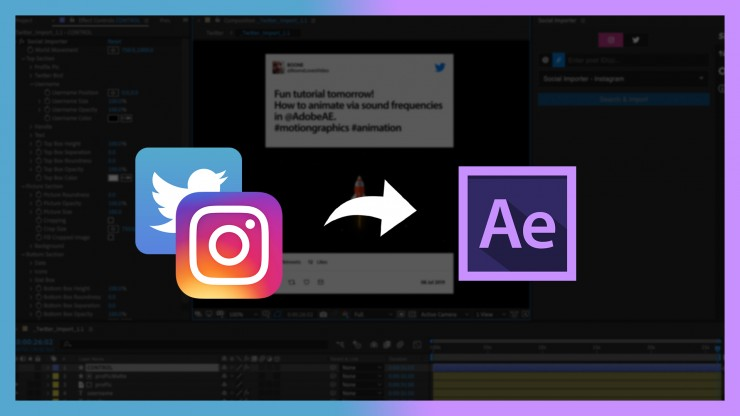 Import Instagram and Twitter Posts into Adobe After Effects