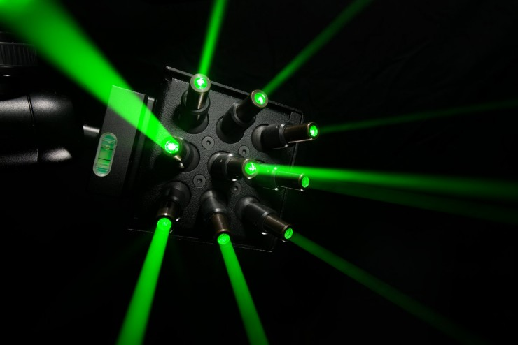 Lasers from Invizitrak pulse in sync with the camera to emit lazer tracking dots