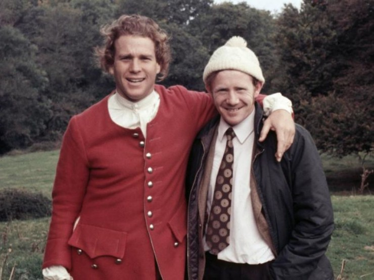 Ryan O'Neill with Pat Heavin on the set of 'Barry Lyndon' in 1973
