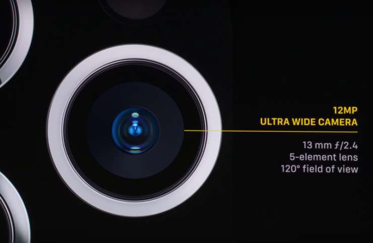 The ultra wide angle camera of the iPhone 11 Pro has a 120 degree field of view with little distortion.