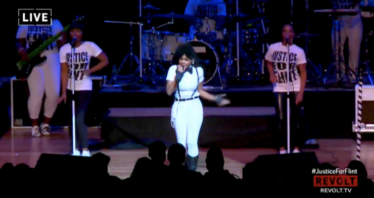 Janelle Monae Performs at Justice for Flint Event