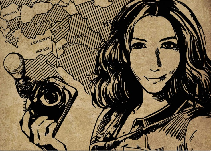 Illustration of Award-winning filmmaker and photojournalist Mimi Chakarova holding a camera over map of countries where she has worked