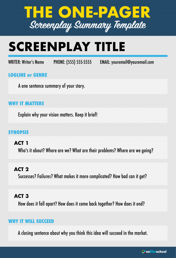 One Pager Screenplay Summary