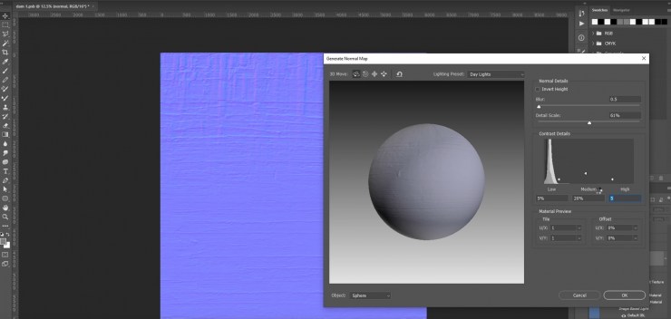 Use your existing image to create a roughness and normal map.