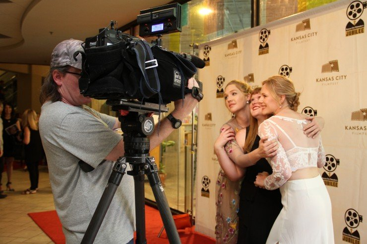 Different Flowers cast Hope Lauren and Emma Bell with writer-director Morgan Dameron on the red carpet at KC Film Fest