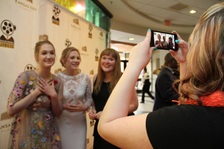 Different Flowers actress Hope Lauren, actress Emma Bell, and writer-director Morgan Dameron on the red carpet at KC Film Fest