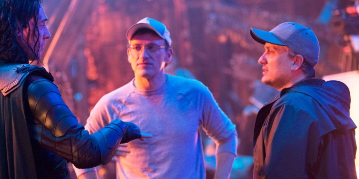 The Russo Brothers directing on set