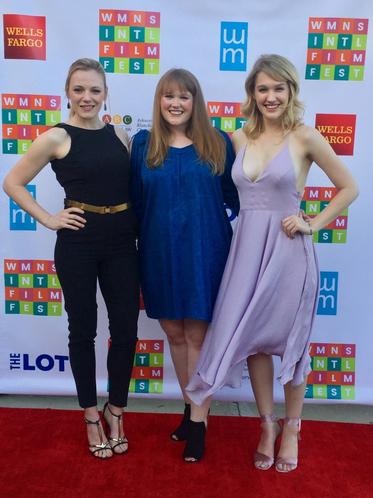 Different Flowers cast Emma Bell and Hope Lauren with writer-director Morgan Dameron at opening night of the San Diego International Women's Film Festival