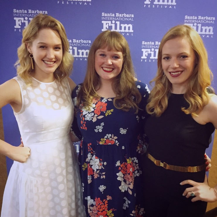 Different Flowers actress Hope Lauren, writer-director Morgan Dameron, and actress Emma Bell on the red carpet for the Santa Barbara International Film Festival