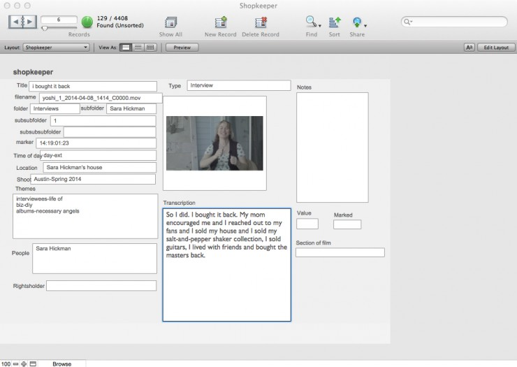 Rain Perry's Filemaker Pro Database for The Shopkeeper