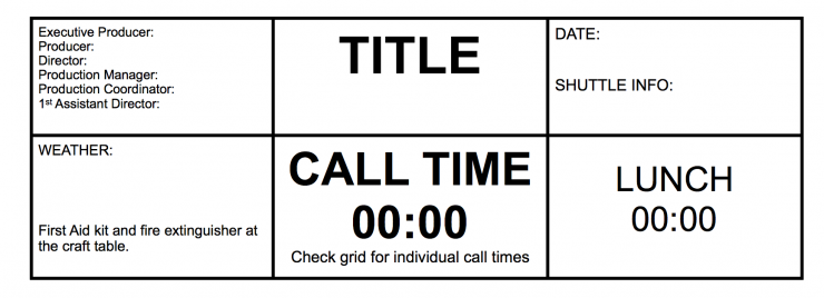 Call Sheet Top Section