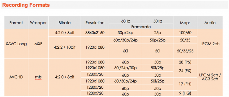 Sony PXW-FS5 Recording Formats and Resolutions